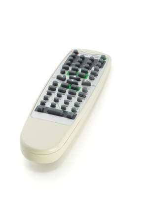 Remote control for audio visual electronic equipment on white background photo