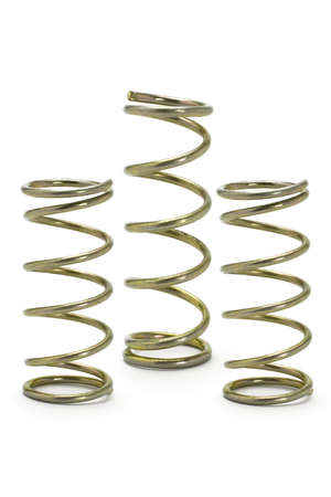 Three metal spring coils isolated on white background photo
