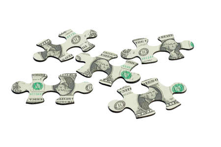 mismatch: Jigsaw puzzles superimposed with US dollar note refelecting economy uncertainty Stock Photo
