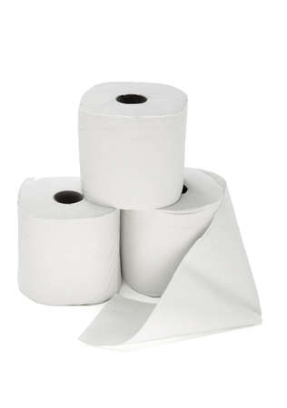 stack of paper: Three toilet rolls arranged on white background