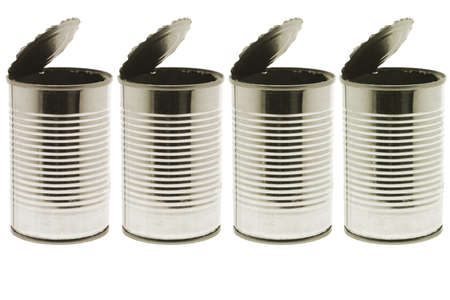 Empty tin cans on white background photo