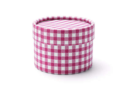 chequer: Chequer round gift box on white background