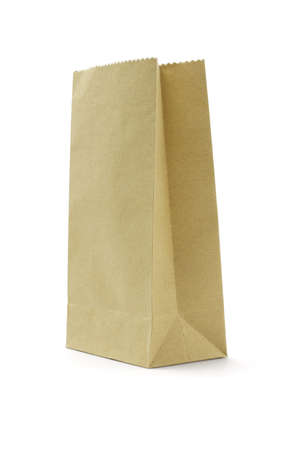 Brown disposable paper bag on white background Stock Photo - 9854279