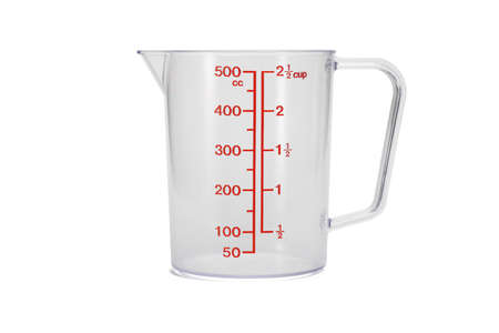 Plastic kitchen measuring cup on white background