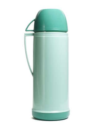 insulated drink container: Green plastic thermal flask with cup on white background