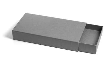cajones: Abierta y vac�a caja rectangular plana de regalo sobre fondo blanco