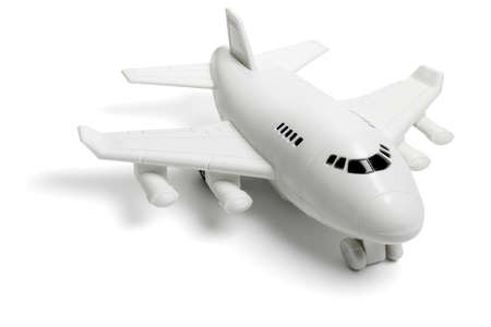 model airplane: Plastic toy passenger jet plane on white background Stock Photo