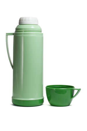 Green plastic thermos flask with cup on white background