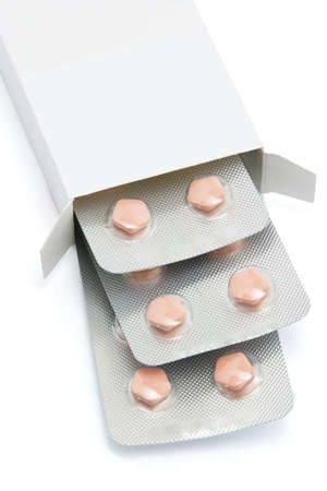 packs of pills: Medicine in strips of blister pack with copy space
