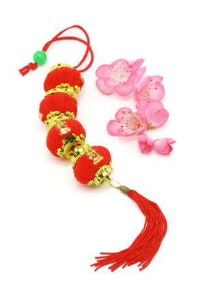 lunar month: Chinese New Year Prosperity lanterns and plum blossoms on white abckground