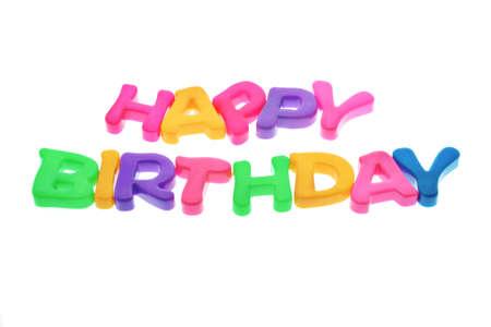 Happy Birthday alphabets isolated on white backgound photo