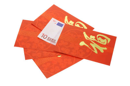 ang: Chinese New Year red packets and Euro currency note on white Stock Photo