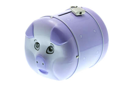 Piggy bank with padlock on white background photo