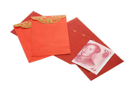 ang: Chinese New Year red packets and renmimbi notes on white background