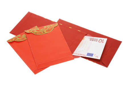 ang: Chinese New Year red packets and Euro notes on white background