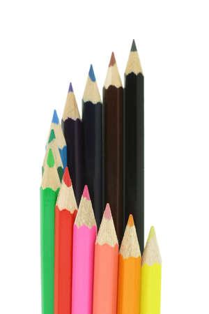 Color pencils in multi colors on white photo