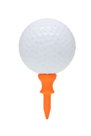 tee off: Close up of golf ball on orange tee with copy space