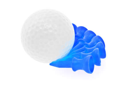 Golf ball and blue teees on white background photo