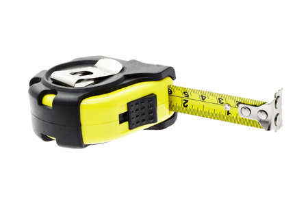 Close up of measuring tape with magnetic head on white background Stock Photo