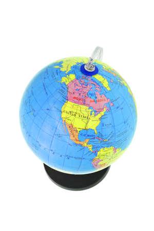 continente americano: Globo plástico mostrando continente norteamericano aislada sobre fondo blanco
