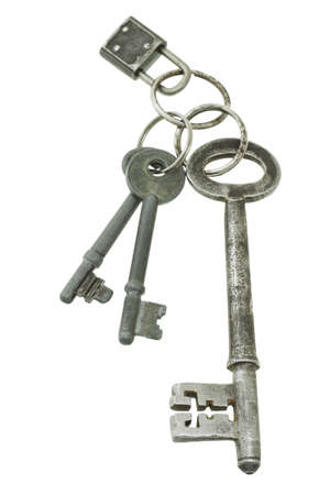 key fob: Old keys of mixed sizes with mini pad lock Stock Photo