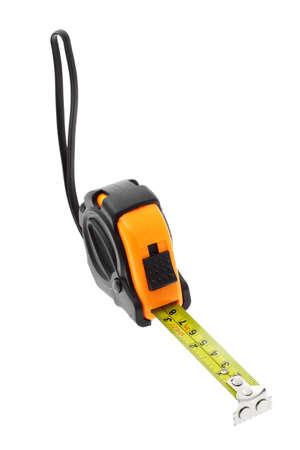 cintas metricas: Cinta métrica con cabeza magnética en el fondo blanco