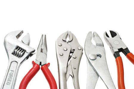 Do-it-yourself tools arranged on white background Stock Photo