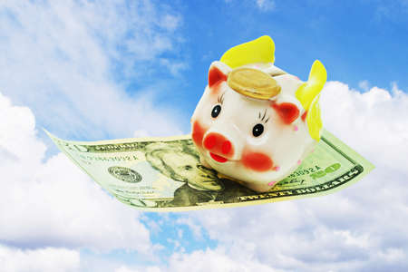 Flying piggy bank riding on US 20 dollars note on clear open sky photo