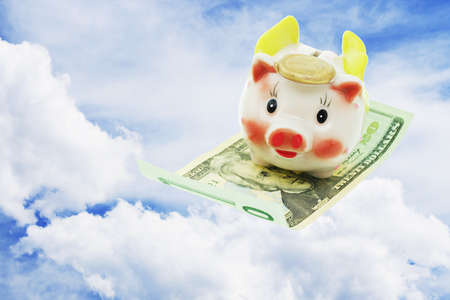 Flying piggy bank riding on US 20 dollars note on open sky photo