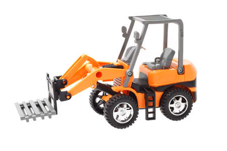 Plastic toy tractor with front end pallet fork attachment photo