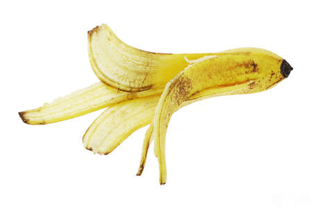 discarded: Discarded banana skin on white background
