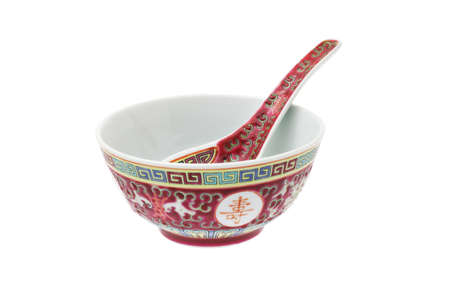 longevity: Chinese longevity bowl and spoon with traditional design and Chinese calligraphy Stock Photo