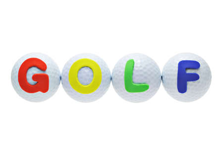 Alphabet labels with the word GOLF on golf balls photo