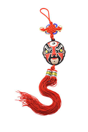 chinese opera: Colorful Chinese opera mask ornament with mystic knot isolated on white