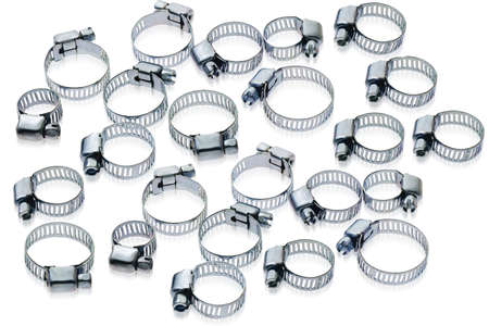 clamps: Metal hose clamps of different sizes on white background
