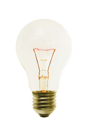incandescence: Glowing filament light bulb on white background Stock Photo