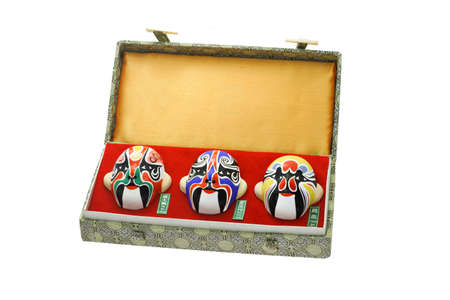 chinese opera: Three Chinese Beijing opera mask ornaments in a gift box