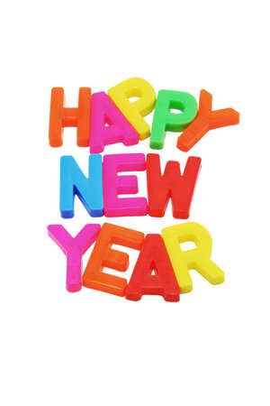 Happy New Year with copy space on white background