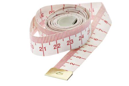 cintas metricas: Cerca de la cinta de medir en unidades métricas en el fondo blanco