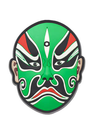 chinese opera: Chinese Beijing opera green mask on white background Stock Photo