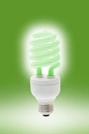 Glowing cool green energy saving light bulb photo