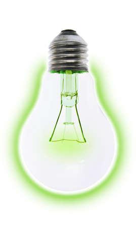 """Bombilla incandescente luz eléctrica brillaba """"verde"""" de la conservación de energía Foto de archivo - 10396824"""