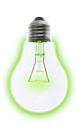 incandescent: Incandescent electric light bulb glowing green conserving energy