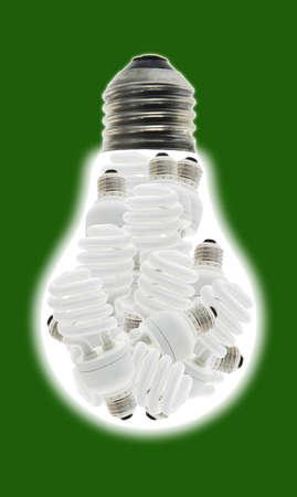 incandescence: Conceptual image of a group of energy saving light bulbs inside incandescent bulb Stock Photo