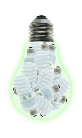 Conceptual image of a group of energy saving light bulbs inside incandescent bulb on white photo