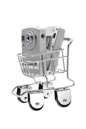 ���push cart���: Digital cameras in mini push cart on white background Stock Photo