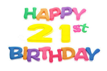 best wishes: Happy 21st Birthday letter blocks arranged on white background Stock Photo