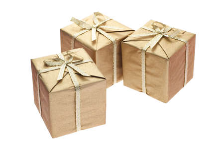 three gift boxes: Three gift boxes with bow ribbons on white background