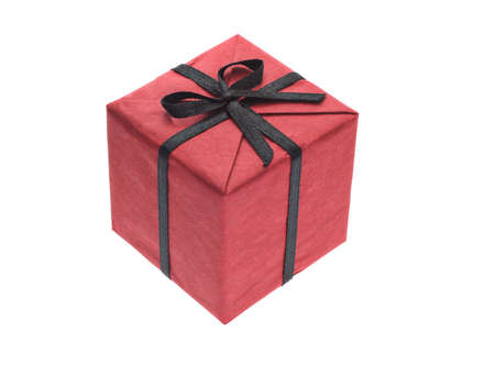 wrapped gift: Red gift box with black bow ribbon on white background Stock Photo