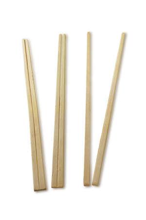 chopstick: Chinese disposable bamboo chopstocks on white Stock Photo